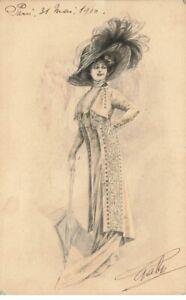 Illustrator #21326 Jolie Woman With Gand Hat And Umbrella Hold Elegant