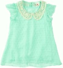 NEW Jenna & Jessie Crochet Collar Embroidered Dot Top Girl's Size 5 ~ Seafoam