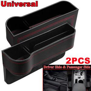 2pcs Universal PU Car Front Seat Gap Storage Caddy Box Organizer Holders Case