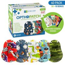 Kids Adhesive Eye Patches Fun Boys Design 30 + 10 Bandages Reward Chart