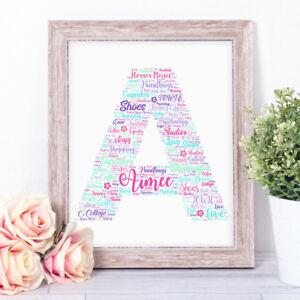Personalised ALPHABET Inital Word Art Print Gift Birthday Keepsake Any Letter