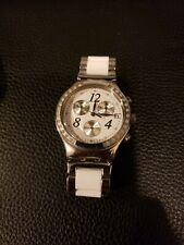 SWATCH Women's Wrist Watch White Silver Irony Stainless Steel Jewel Crystal date
