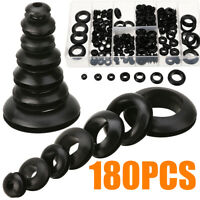 180Pcs/Set Rubber Grommet Firewall Hole Plug Kit Electrical Wire Gasket Assorted