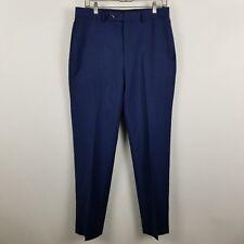 NWT Calvin Klein Wool Nature Stretch Mens Royal Blue Flat Front Dress Pants 32