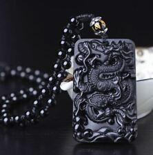 Wunderschöner Jade-Anhänger mit 0,7meter Halskette 6x3,5cm 66g Amulett Obsidian