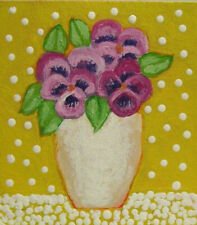 Original Miniature Painting, SHABBY COTTAGE PANSIES, Doll House Size, Flowers