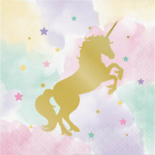 Unicorn Pastel Napkins 16pk Lunch 16cmx16cm 2Ply Serviette Paper Birthday Party