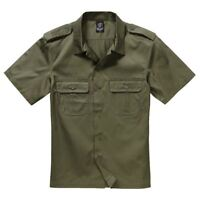 Brandit Combat Military Army Style Short Sleeve Durable Work Shirt Olive