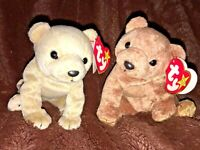 "SALE! TY BEANIE BABIES BEARS ""Pecan"" & ""Almond"" RETIRED"