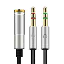 Audio Splitter Kabel Silber Y Adapter Kopfhörer Headset 3.5mm Klinke Computer