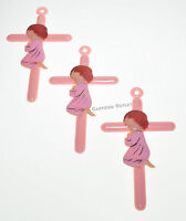 12 PC PINK CROSS GIRL BAPTISM FAVORS RECUERDOS DE BAUTIZO COMMUNION BABY SHOWER