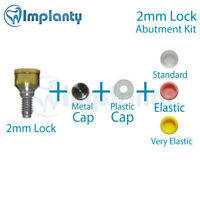 Lock Abutment Kit 2mm Dental Implant Titanium Internal Hex Metal + Silicone Caps