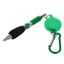 Green Retractable Badge Reel Pen Belt Clip & Carabiner F5E2