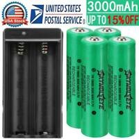 4x 18650 Battery 3000mAh 3.7V Li-ion Rechargeable Battery For Torch + Charger