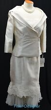 MONTAGE by Mon Cheri 2PC Dress portrait Jacket skirt Suit MOB silk Ivory 8 NWT