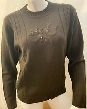 New Womens Haband Medium Brown Floral Beaded Long Sleeve Knit Sweater Shirt Top