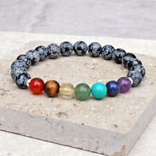 Snowflake Obsidian 7 Chakra Bracelet 8mm Beads 925 Sterling Silver Spacers