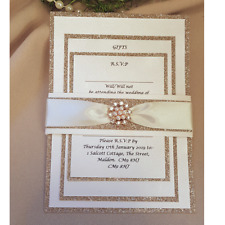 32 x Lizzy champagne rose gold glitter and pink diamante wedding invitation set
