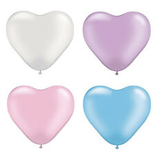 Heart Shaped Balloons x 10 Assorted Colours 15cm Pearl Pink Blue Purple White
