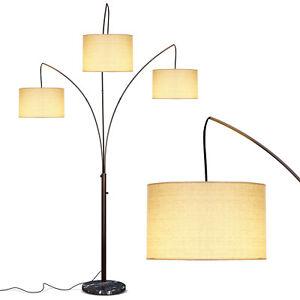 Brightech Trilage 9.5 Watt LED Bulb 3 Lights with Shades Arc Floor Lamp, Bronze