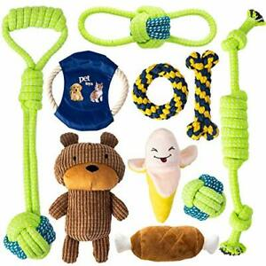 10 Pack Dog Toy Set, Squeaky and Rope Toys Perfect for Puppy