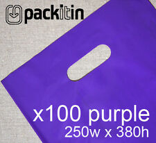 100 PURPLE PLASTIC CARRY BAGS with die cut handle - medium size - 250 x 380mm