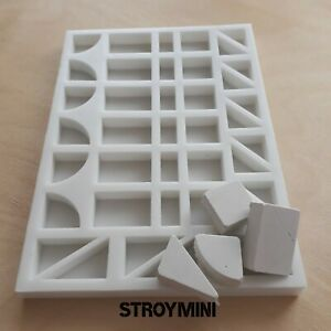 Silicone mold form for 40 miniature bricks elements 1:6