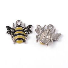 10 Wasp Bee Enamel Charms Pendants Jewellery Making 17mm x 18mm (001G)