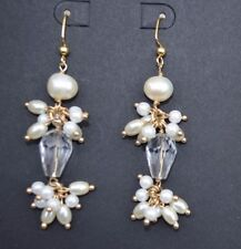 Stunning Freshwater/Faux Pearl & Clear Crystal Bridal Wedding Statement Earrings