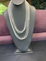 """1950S White Clear Unusual Multi Strand Beaded Necklace Extra Long  48"""""""