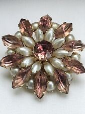 """Signed Coro Peachy Pink Opalescent Rhinestone Designer Vintage Brooch Pin """"WOW"""""""