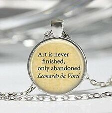 Art is Never Finished Only Abandoned Necklace Chain Metal Silver Jewellery New