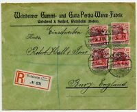 Weinheim Germany Rubber Gutta percha Factory Registered Cover to Bury UK 1906