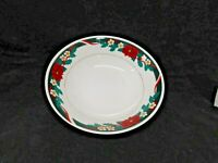 """Deck The Halls Vegetable Bowl 9.5"""" Christmas Poinsettia Holly Tienshan Retired"""