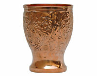100% Copper Hammered Drinking Antique Glass Cup Tumbler Ayurveda Health Yoga