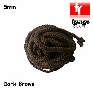 5mm Dark BROWN Polyester Cord ParaCord Braided Rope Soft Colour Sewing Trim
