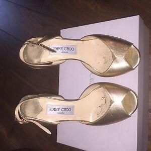 Jimmy Choo Metalic Gold Peep Toe Nova Slingback Heels Size EU 37.5 UK 4.5
