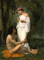 Oil painting Bouguereau - Idylle romantic young lovers in landscape canvas 36""