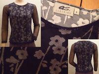 Q.S. Clothing Shirt Damen ¾ Arm Rundausschnitt Blumenmuster schwarz/weiss GrS 1A