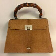 Elaine Turner Designs Ponyhair / Leather Satchel Handbag Bamboo Handle Italy
