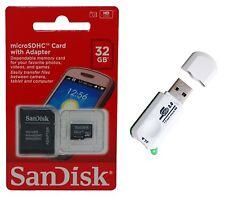 SanDisk 32GB Micro SD SDHC MicroSD TF Flash Memory Card +  USB 2.0 Card Reader