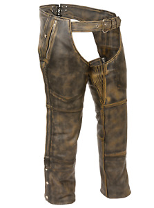 MEN BROWN RIDING BIKER MOTORCYCLE LEATHER CHAPS S-6XL