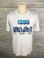 Men's Retro 1990 Beijing Asian Games T-Shirt - Large - White - Great Condition