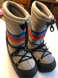 Vintage Grey Red Blue Winter Moon Boots style Sz 9 to 10 retro shoe 70s korea
