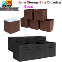 6 x Storage Bins Organizer Home Fabric Cube Boxes Basket Drawer Container School
