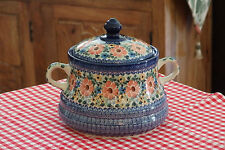 Beautiful Polish Stoneware COOKIE JAR w/HANDLES made for QVC brand NEW CONDITION