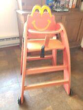 """Vintage McDonalds Restaurant Childs High Chair Golden Arches 37"""" Wheels Sturdy"""