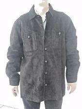 Men's VTG Black Suede 100% Leather Long Shirt Coat Jacket LT
