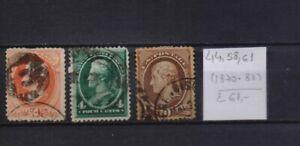 ! United States 1870-1883. Stamp. YT#44,58,61. €61.00!