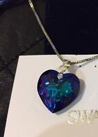 NEW SWAROVSKI ELEMENTS CRYSTAL BLUE HELIOTROPE HEART PENDANT SILVER NECKLACE